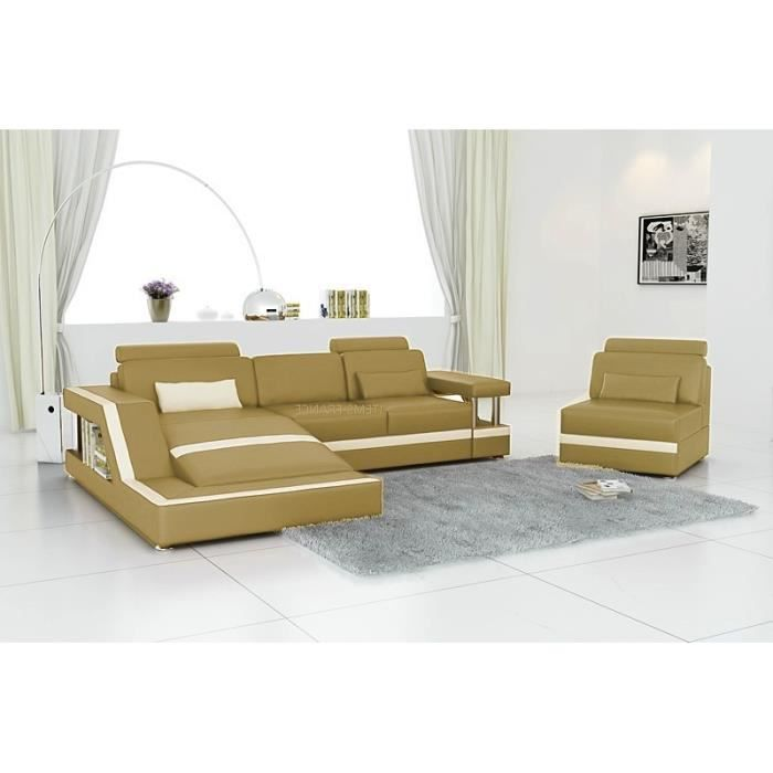 Rimini 3 beige canape cuir d 39 angle beige 3 pl achat for Canape cuir beige