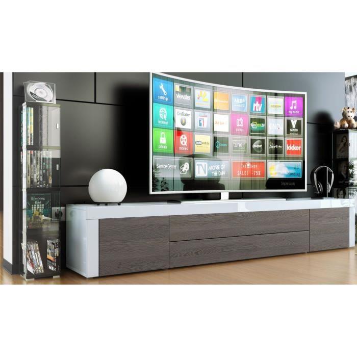 meuble tv blanc /wengé et blanc 200cm - Achat / Vente ...