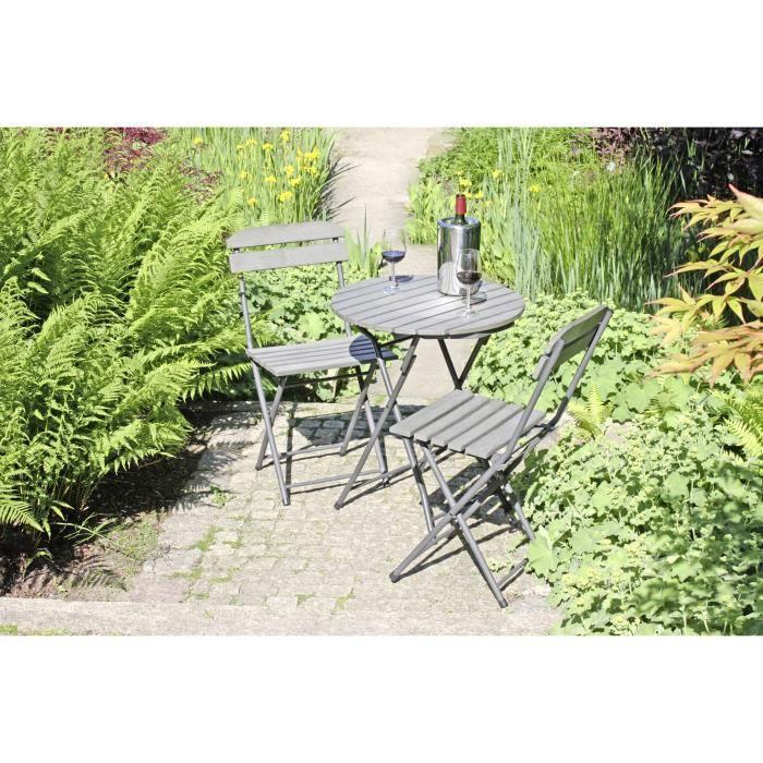 Salon de jardin pliable en bois gris lugo achat vente salon de jardin salon de jardin Salon de jardin bois cdiscount