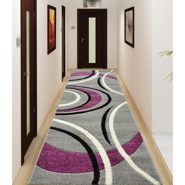 Nazar tapis de salon havanna gris violet noir achat - Salon violet et noir ...