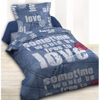 housse de couette et taie d 39 oreiller blue jean achat vente housse de couette cdiscount. Black Bedroom Furniture Sets. Home Design Ideas