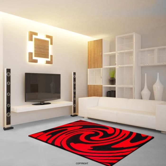 Tapis salon emily m 145 noir rouge 80 x 140 cm achat for Tapis rouge avec canapé 145 cm