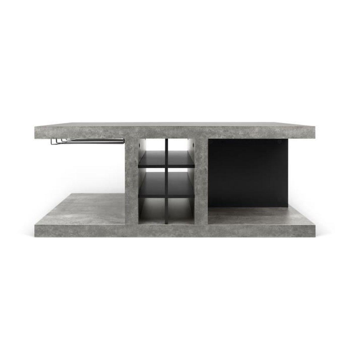 hilo table basse bar effet b ton gris achat vente. Black Bedroom Furniture Sets. Home Design Ideas