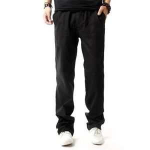 PANTALON pantalon homme en lin style décontractés Noir