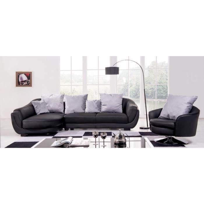 Canap d 39 angle gauche noir colorado achat vente for Canape en polyurethane