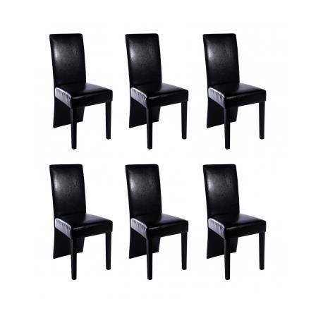 Chaise design bois noir lot de 6 simili cuir bois achat for Chaise bois et simili cuir
