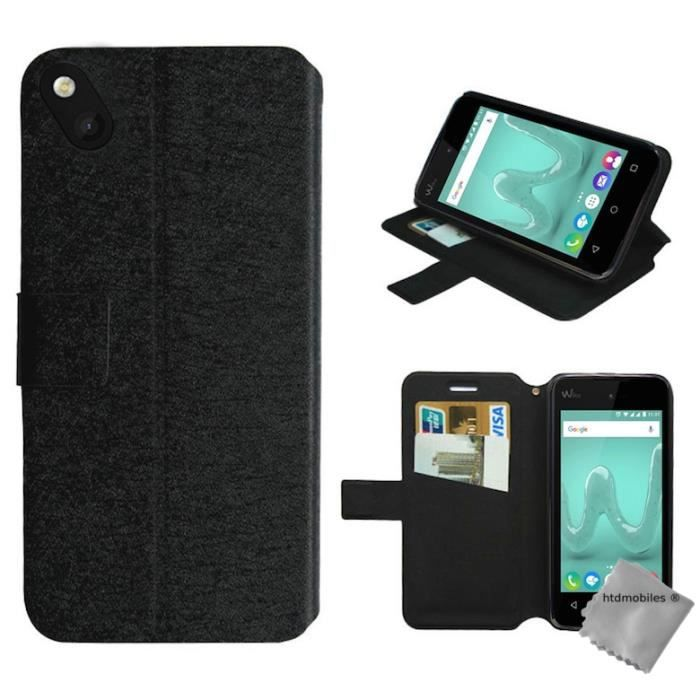 Housse etui portefeuille pour wiko sunny verre trempe for Housse telephone wiko