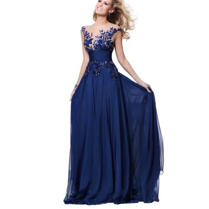 robe de soir e longue bleu dentelle applique robe de mari e f te robe de bal bleu achat. Black Bedroom Furniture Sets. Home Design Ideas