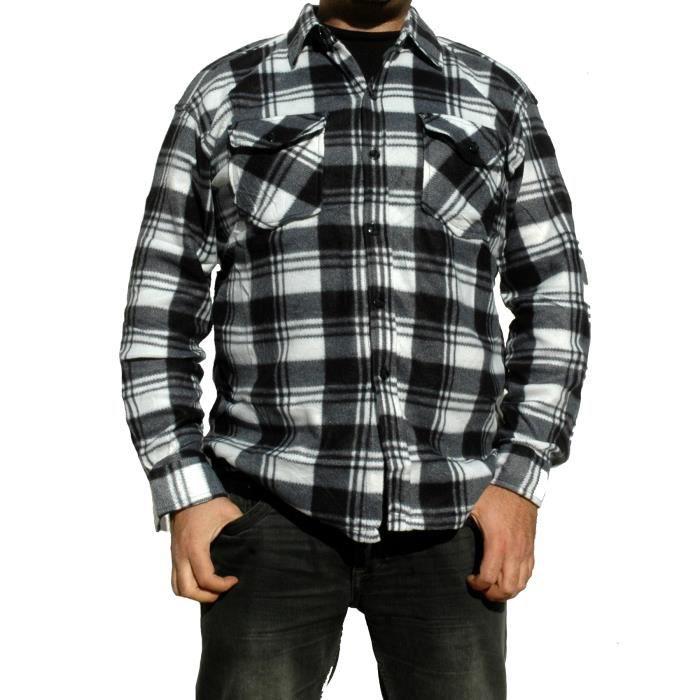 chemise a carreaux polaire homme noir et blanc noir et blanc achat vente chemise. Black Bedroom Furniture Sets. Home Design Ideas