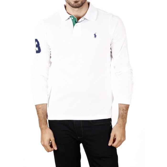 ralph lauren polo homme manches longues blanc achat vente polo soldes cdiscount. Black Bedroom Furniture Sets. Home Design Ideas