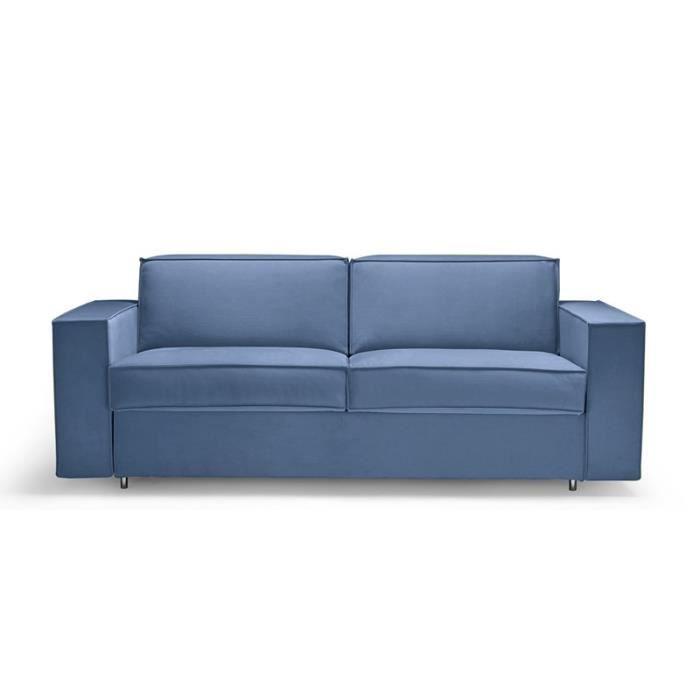 Canap convertible rapido alpha bleu 140 cm achat vente canap sofa d - Canape bleu convertible ...