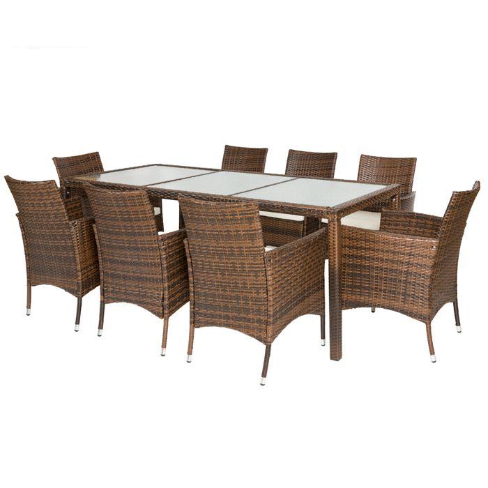 Salon de jardin poly 8 chaises 1 table marron achat - C discount salon de jardin ...