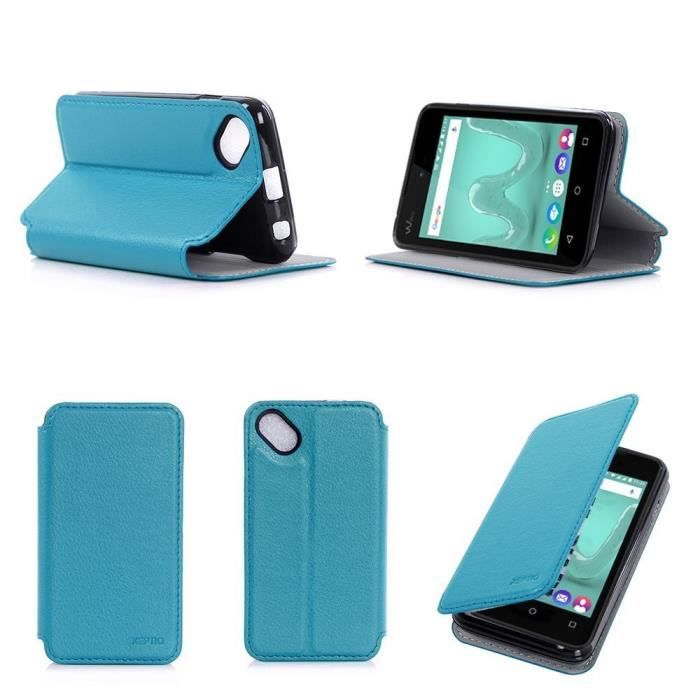 Etui coque wiko sunny turquoise housse pochette achat for Housse wiko sunny 2