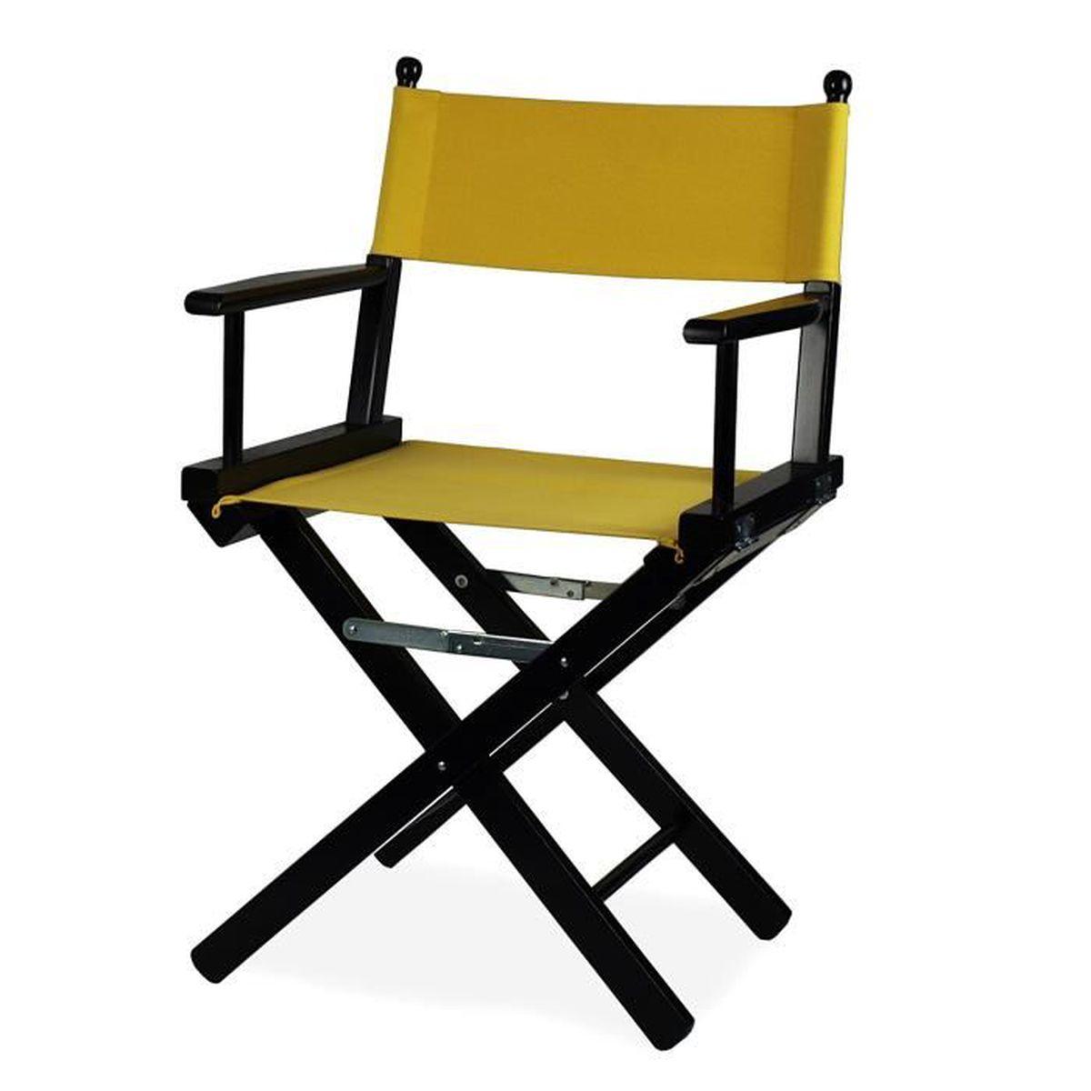 fauteuil de metteur en sc ne pliable en bois noir et tissu jaune regista p achat vente. Black Bedroom Furniture Sets. Home Design Ideas