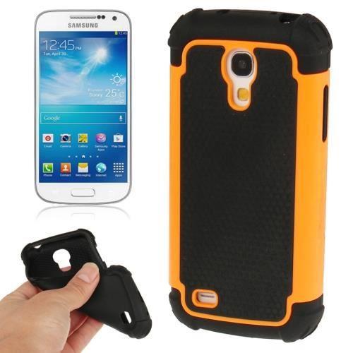 galaxy s4 mini coque housse de protection en silicone noir avec contour en plastique orange