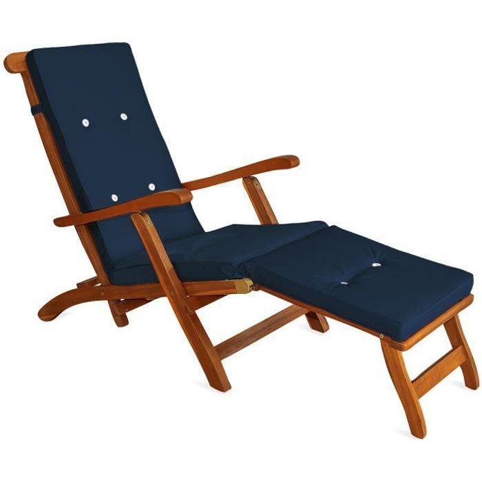 coussin pour chaise longue 173 cm matelas bleu achat. Black Bedroom Furniture Sets. Home Design Ideas