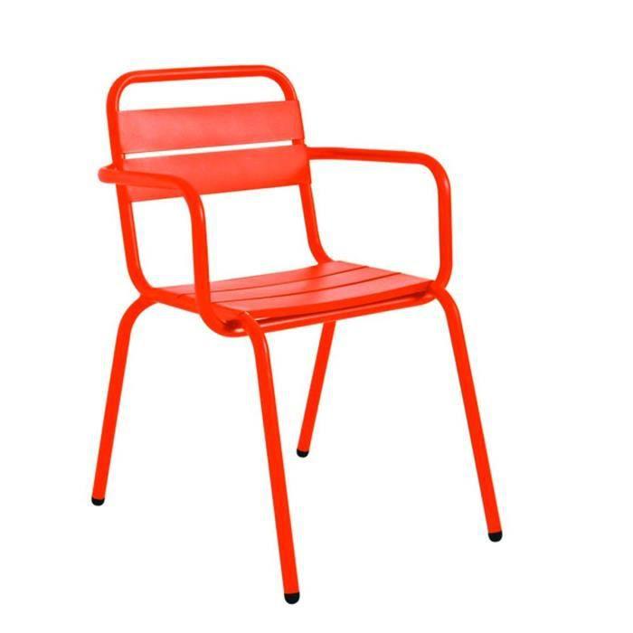 Fauteuil de jardin design m tal visalia couleur orange achat vente fauteu - Chaise jardin couleur ...