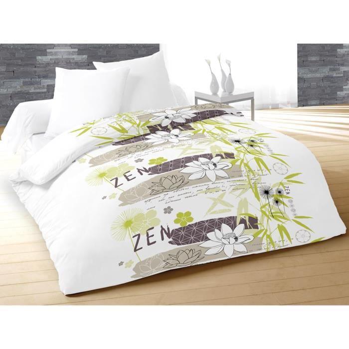 soleil d 39 ocre couette temp r e imprim e zen zen 220x240 cm vert achat vente couette cdiscount. Black Bedroom Furniture Sets. Home Design Ideas