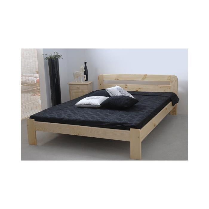 justhome sara lit en bois sommier lattes couleur pin 140 x 200 cm achat vente lit. Black Bedroom Furniture Sets. Home Design Ideas