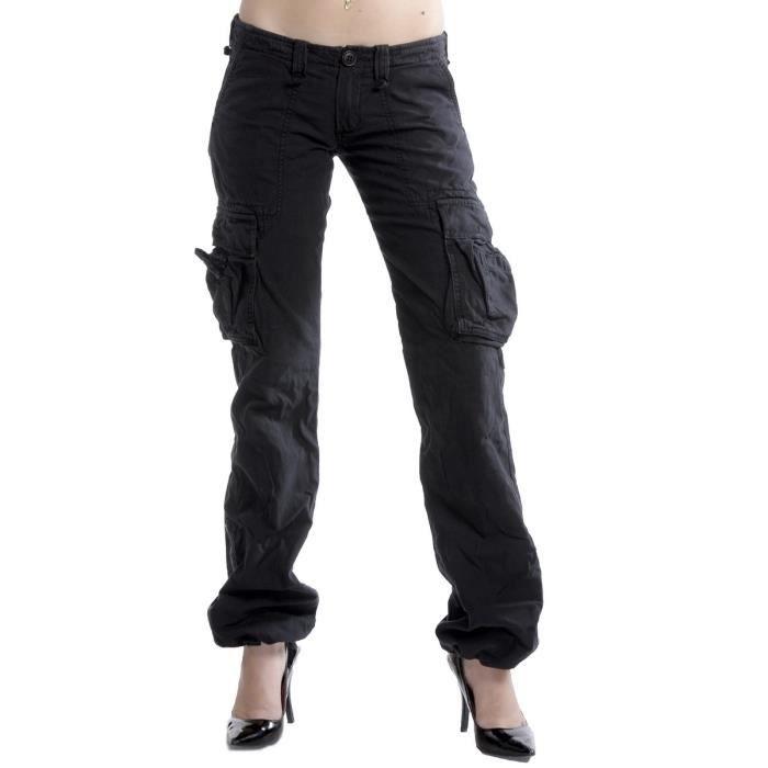 Pantalon streetwear femme le tem noir achat vente pantalon soldes d t d s le 22 juin - Pantalon treillis femme le temps des cerises ...