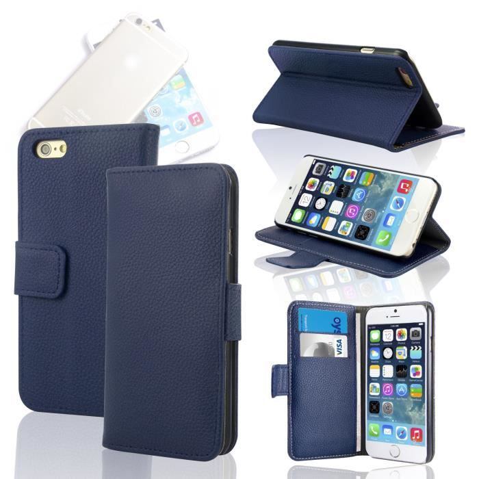 Housse coque portefeuille cuir iphone 6 5 5 bleu achat for Housse iphone 5 cuir