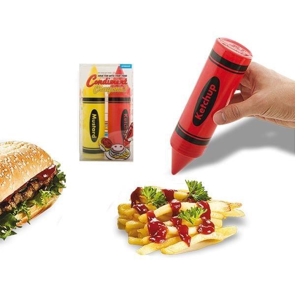 Lot De 2 Crayons Distributeur Ketchup Et Moutarde Deco Maison Ustensile Cuisine Achat