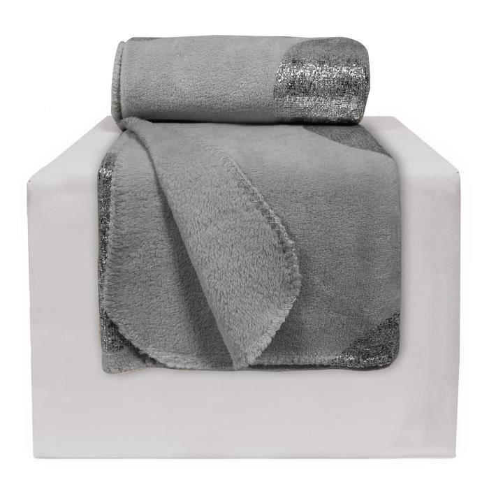 plaid polaire 127x152 imprim platine gris achat vente. Black Bedroom Furniture Sets. Home Design Ideas