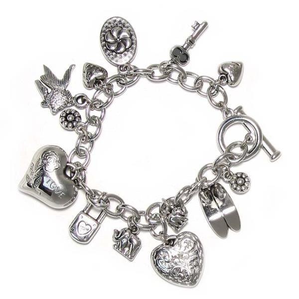 bracelet argent avec charms coeur cl cadenas achat. Black Bedroom Furniture Sets. Home Design Ideas