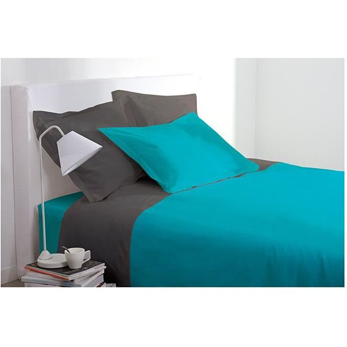 drap housse 2 personnes 160x200 cm 100 coton turquoise. Black Bedroom Furniture Sets. Home Design Ideas