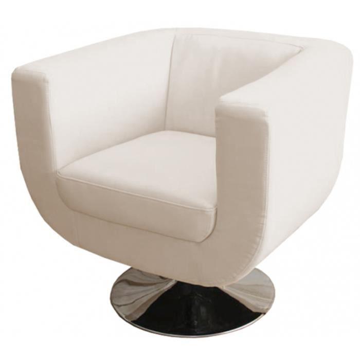 fauteuil de salon club tr vise coloris cr me achat vente fauteuil cdiscount. Black Bedroom Furniture Sets. Home Design Ideas