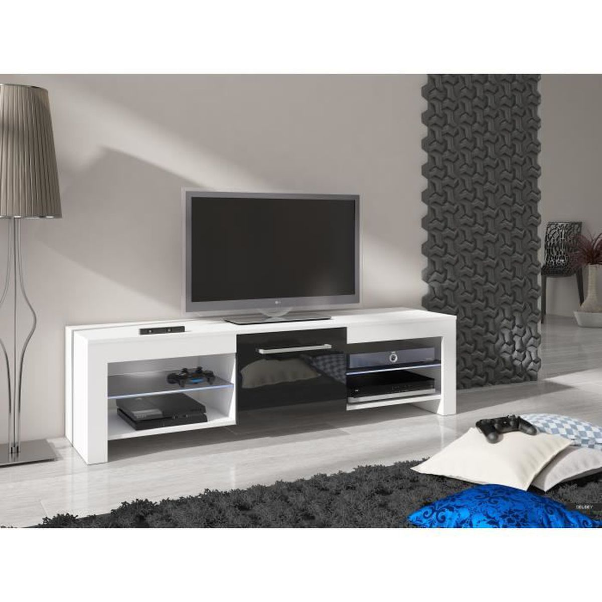 meuble tv remo blanc mat noir brillant sans led achat vente meuble tv meuble tv remo blanc. Black Bedroom Furniture Sets. Home Design Ideas