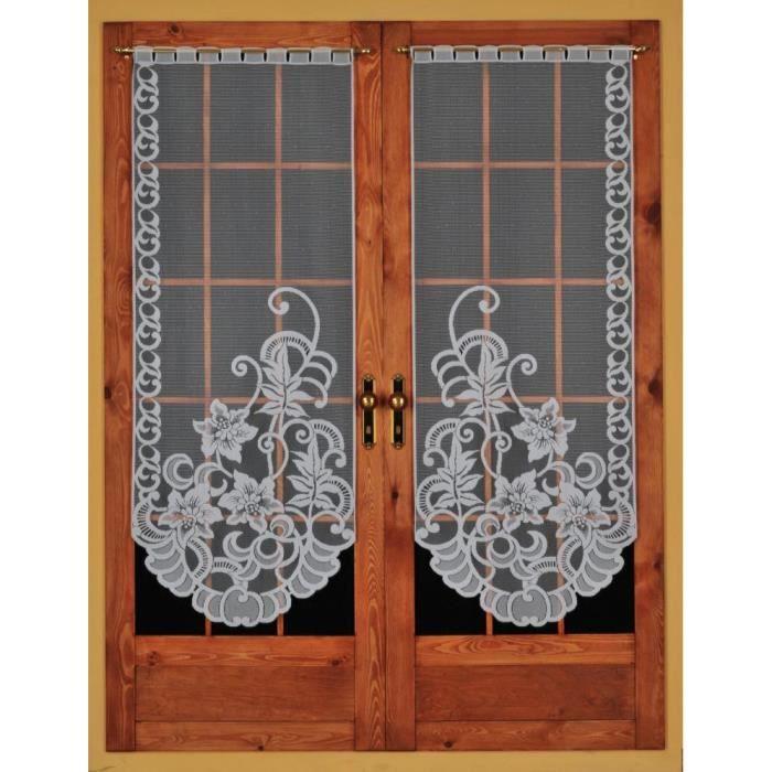 paire maille vitrage droit 2 x 60 x 220 cm dessin feuille achat vente rideau les soldes. Black Bedroom Furniture Sets. Home Design Ideas