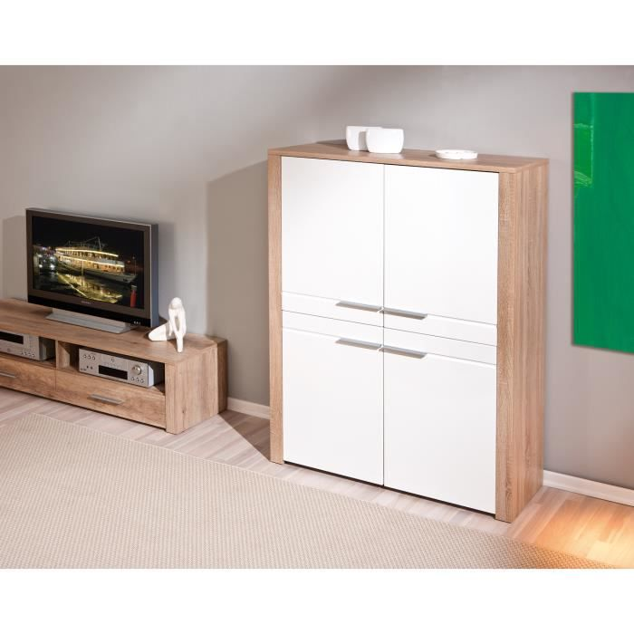 bahut 4 portes design coloris ch ne sonoma et blanc achat vente buffet bahut bahut 4. Black Bedroom Furniture Sets. Home Design Ideas