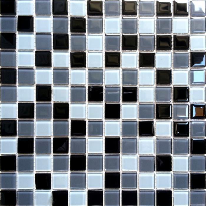 Carrelage mosa que en verre blanc noir gris achat for Carrelage gris blanc