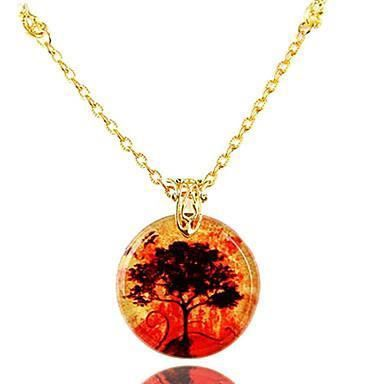 bijoux collier collier avec pendentif rond arbre achat vente chaine de cou seule bijoux. Black Bedroom Furniture Sets. Home Design Ideas