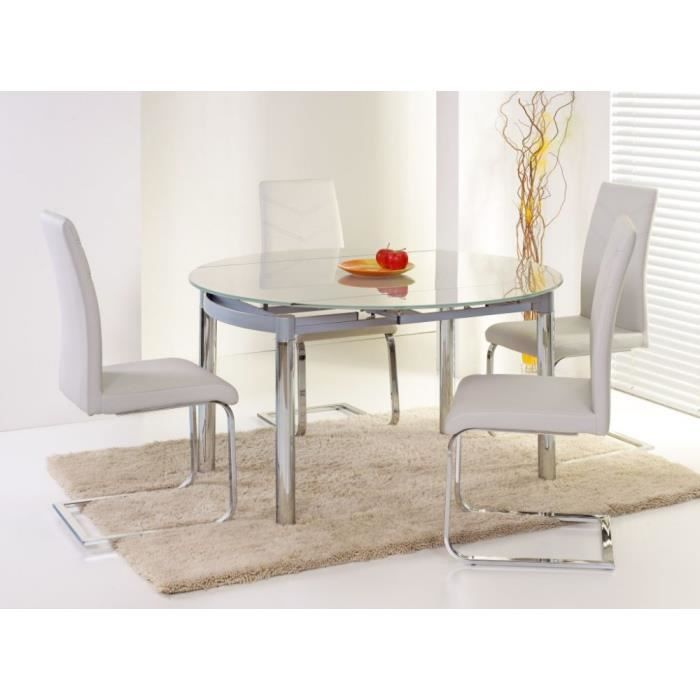 Justhome table de salle manger nestor extensible en for Table salle a manger en verre extensible