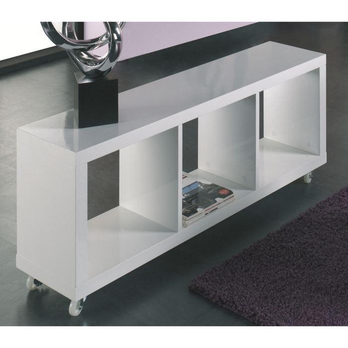etag re glee en bois laqu blanc scintillant sur roulettes achat vente meuble tag re. Black Bedroom Furniture Sets. Home Design Ideas