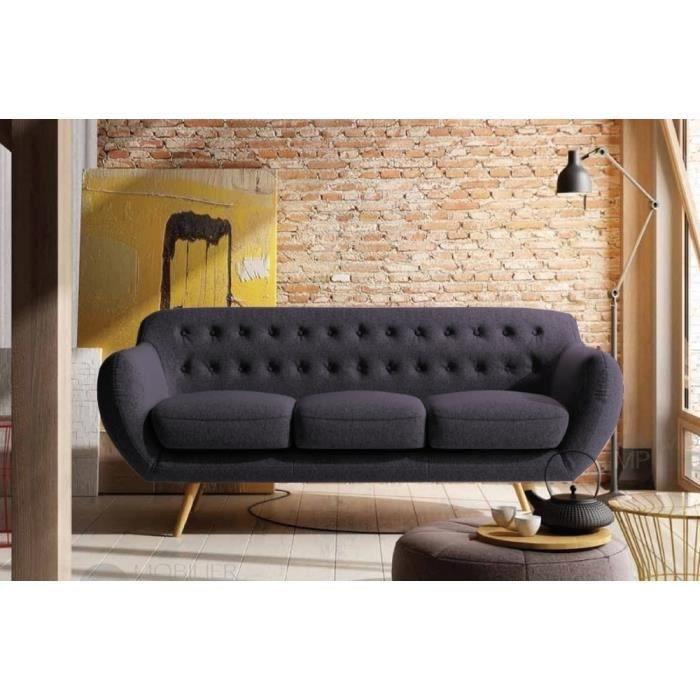 Canap 3 places en tissu de qualit inava achat vente canap sofa - Canape de bonne qualite ...