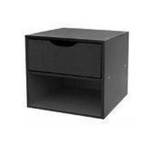 cube noir 1 tag re 1 tiroir x x cm achat vente petit meuble rangement. Black Bedroom Furniture Sets. Home Design Ideas