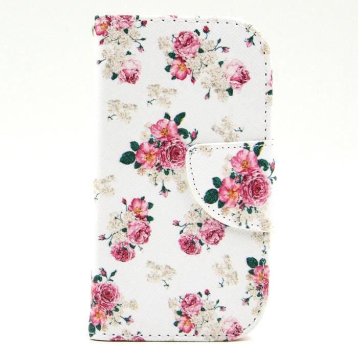 Rose fleurs coque pour samsung trend 2 lite g313 g318 housse protection porte monnaie en cuir pu - Samsung trend lite pas cher ...