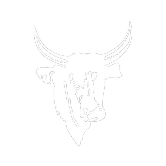 Sticker t te de taureau taille 10 cm couleur blanc achat for Decoration murale tete de taureau