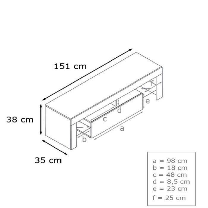 Meuble TV 151 cm blanc et noir métallique - Achat / Vente ...