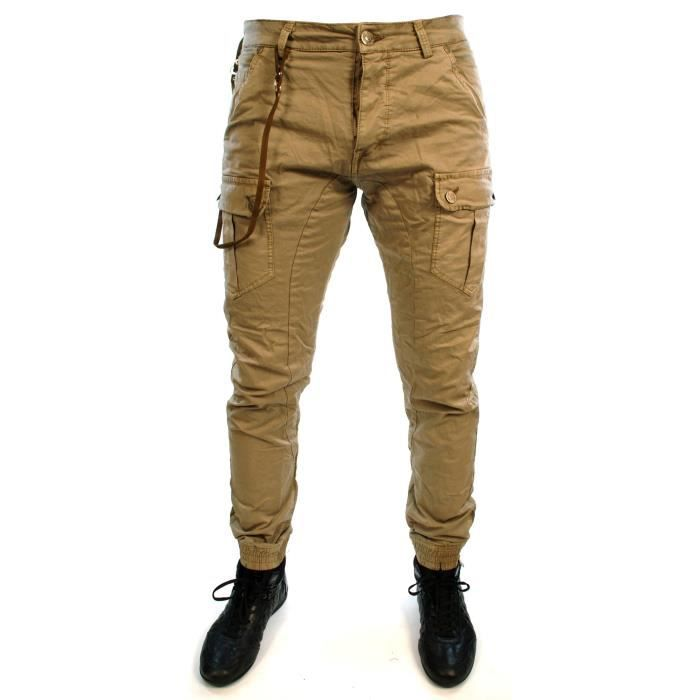 pantalon treillis slim cargo neuf homme beige achat vente pantalon pantalon treillis slim. Black Bedroom Furniture Sets. Home Design Ideas