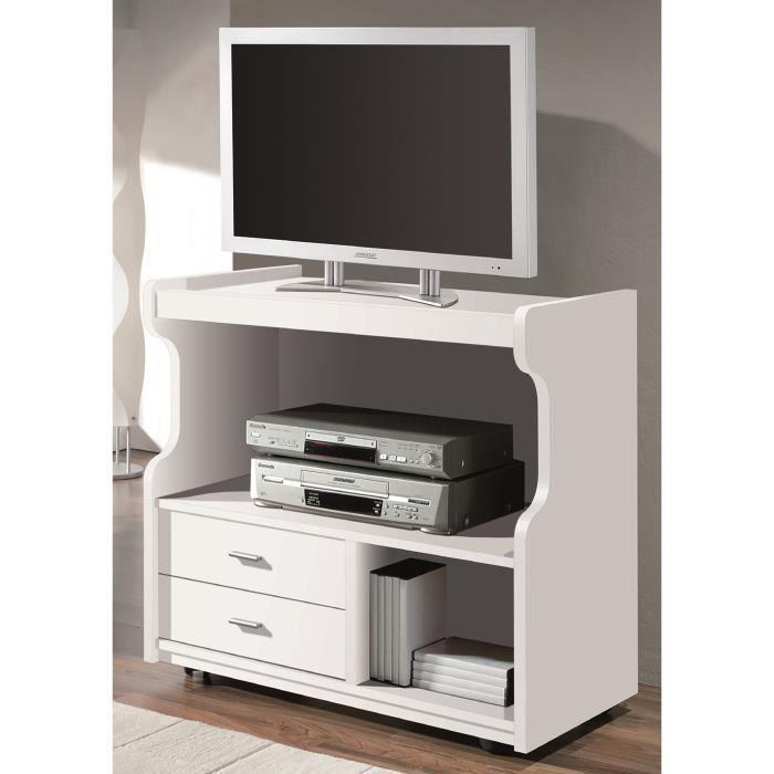 Meuble tv coloris blanc l82 5 x h76 5 x p40 cm achat for Meuble tv 40 cm
