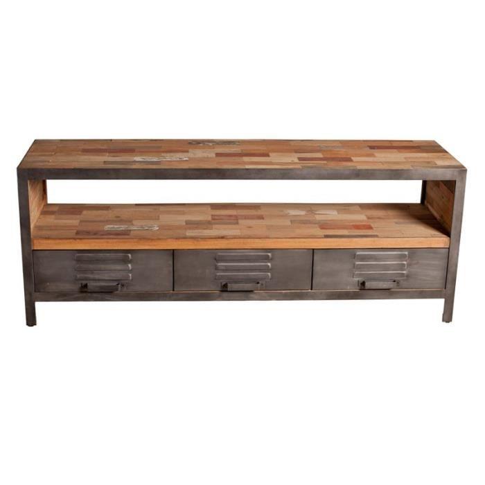 meuble tv 3 tiroirs 1 niche fabrik l 160 x l 45 x h 60 cm achat vente meuble tv meuble. Black Bedroom Furniture Sets. Home Design Ideas
