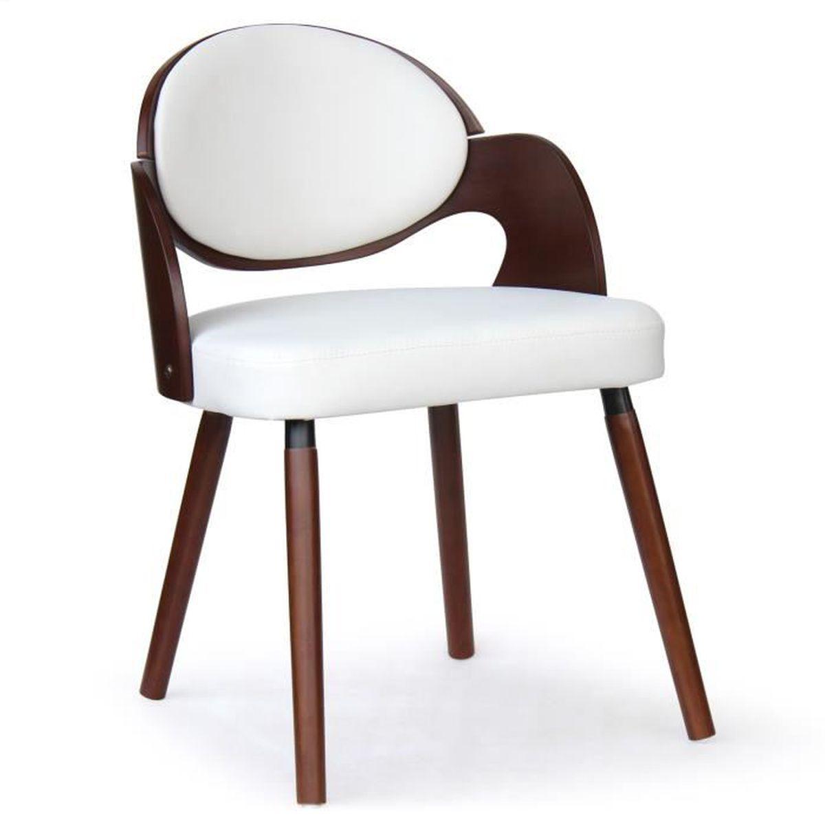 Chaise scandinave esther bois noisette et blanc achat for Chaise bois et blanc