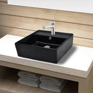 LAVABO - VASQUE Vasque carré à trou trop-plein/robinet céramique p