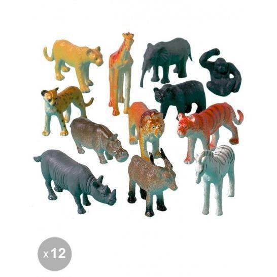 12 animaux de la jungle en plastique achat vente robot animal anim cdiscount. Black Bedroom Furniture Sets. Home Design Ideas
