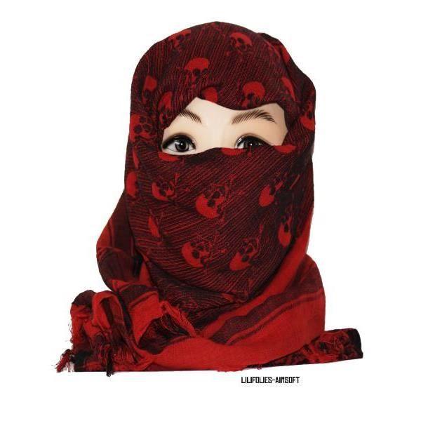 keffieh foulard palestinien 100 coton unisexe rouge et noir avec cr nes 100 x 100 cm achat. Black Bedroom Furniture Sets. Home Design Ideas