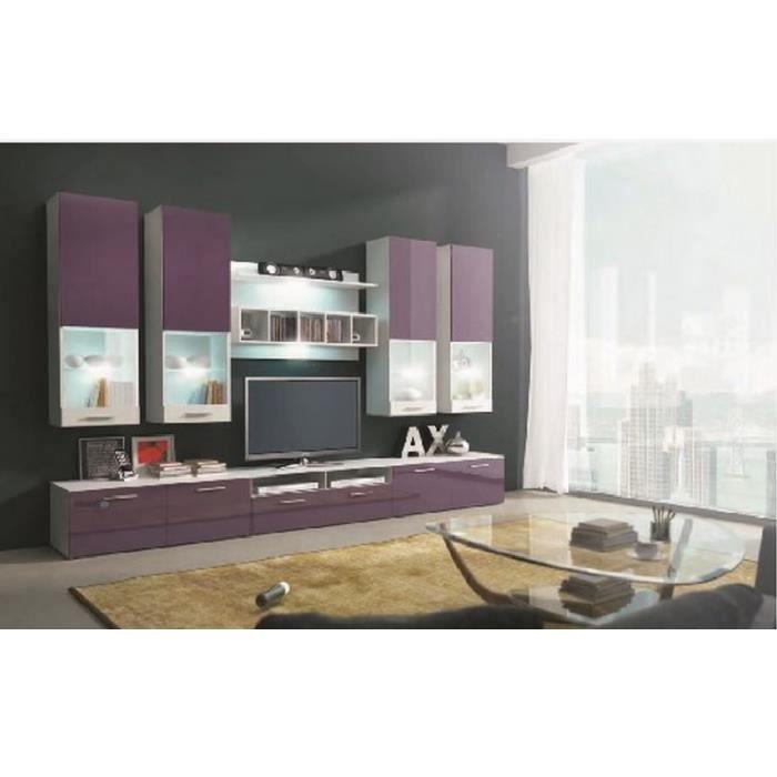 Ensemble meuble tv bas violet design avec led rina achat for Ensemble meuble tv design